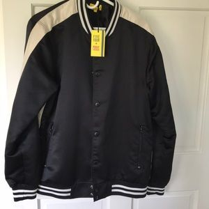 FiveFour Poggy the Man Large black bomber jacket.